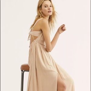 Free People Maxi Dress nude tan Strappy Back L